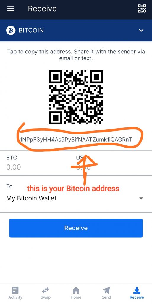 How to know Bitcoin wallet address on blockchain wallet